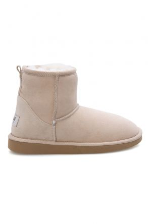 Pegia Short Genuine Suede & Sheepskin Women Boots From 191021 Beige