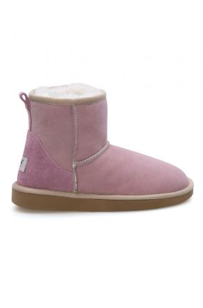 Pegia Short Genuine Suede & Sheepskin Women Boots From 191021 Pink