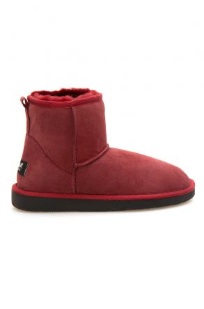 Pegia Short Genuine Suede & Sheepskin Women Boots From 191021 Claret red
