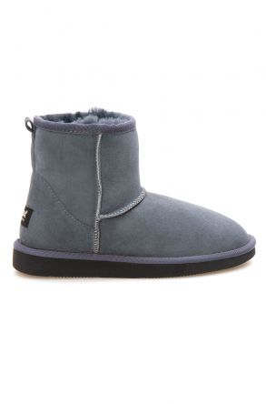 Pegia Short Genuine Suede & Sheepskin Women Boots From 191021 Dark Gray