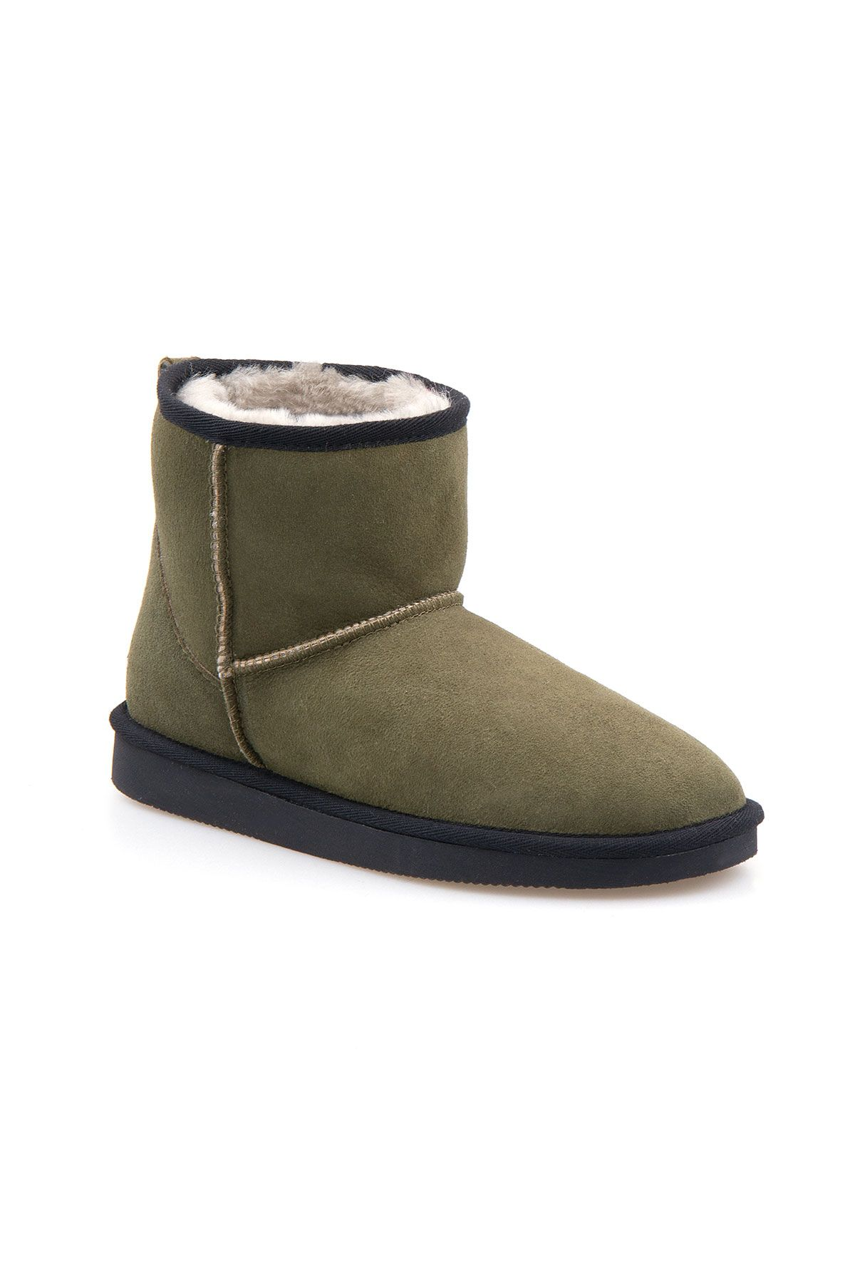 Pegia Short Genuine Suede & Sheepskin Women Boots From 191021 Khaki