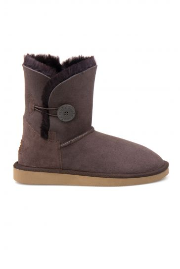 Pegia Genuine Sheepskin Suede Women's Boots with Botton 191031 Brown