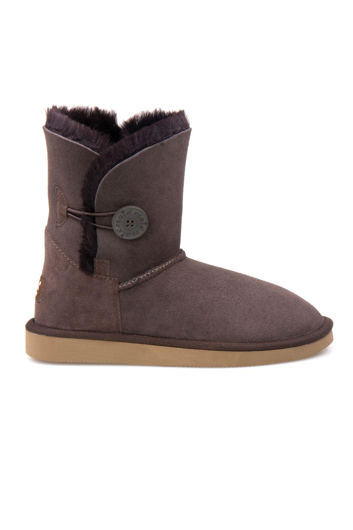 Pegia Genuine Sheepskin Suede Women's Boots with Botton 191031 Brown