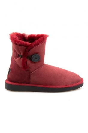 Pegia Genuine Sheepskin Suede Women's Boots with Botton 191031 Claret red