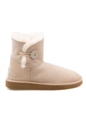 Pegia Genuine Sheepskin Suede Women's Boots with Botton 191031 Beige