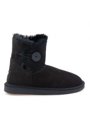 Pegia Genuine Sheepskin Suede Women's Boots with Botton 191031 Black