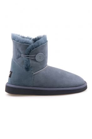 Pegia Genuine Sheepskin Suede Women's Boots with Botton 191031 Dark Gray