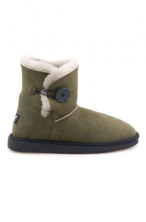 Pegia Genuine Sheepskin Suede Women's Boots with Botton 191031 Khaki