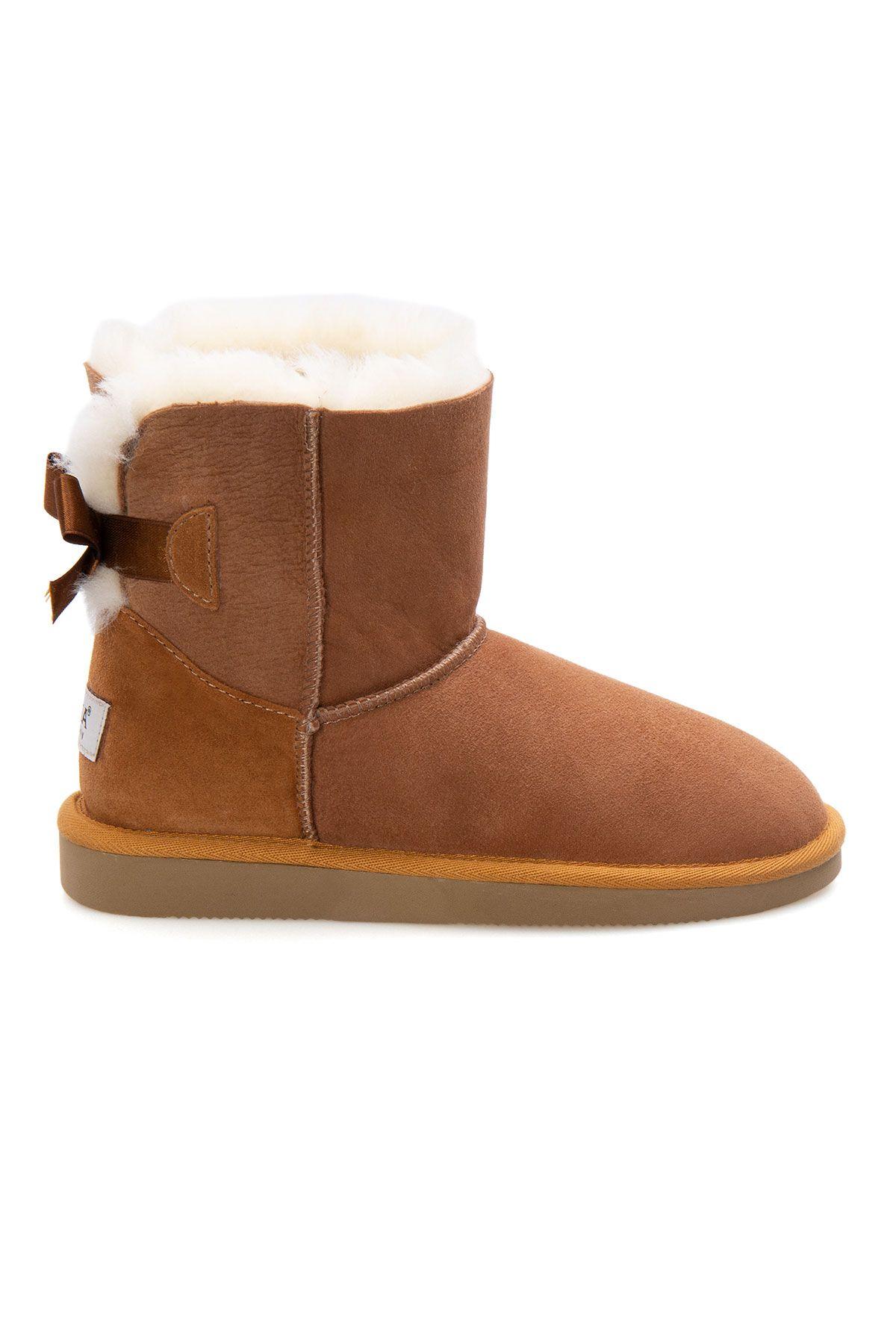 Pegia Genuine Sheepskin Women's Boots 191061 Ginger