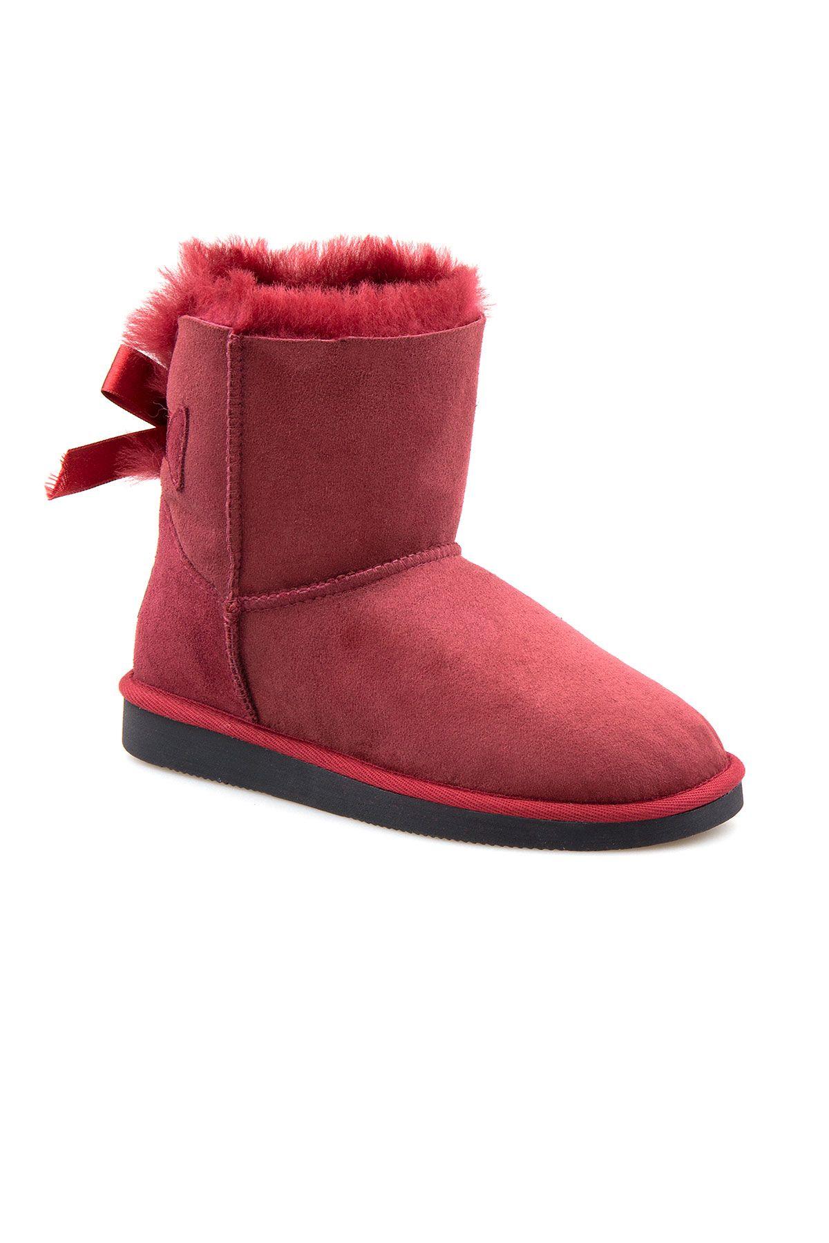 Pegia Genuine Sheepskin Women's Boots 191061 Claret red
