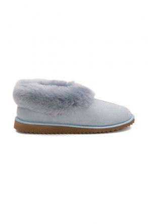 Pegia Hakiki Süet İçi Kürklü Bayan Ev Ayakkabısı 191100 Mavi