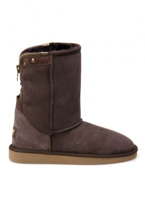 Pegia Genuine Suede Sheepskin Lined Women's Laced Boots 191052 Brown