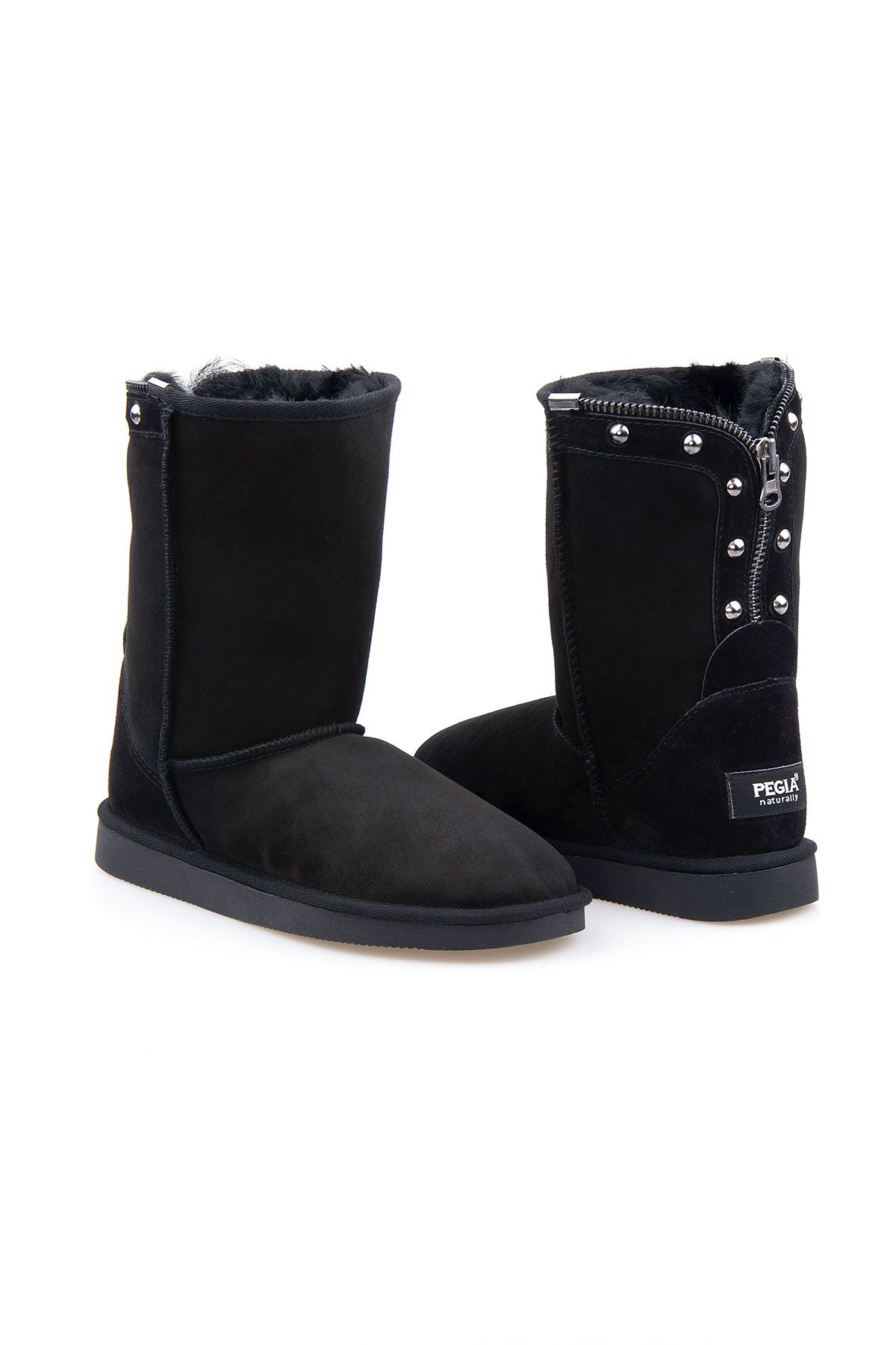 Pegia Genuine Suede Sheepskin Lined Women's Laced Boots 191052 Black