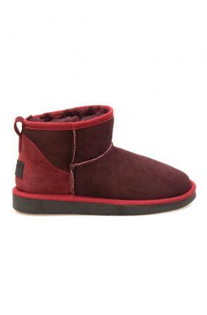 Pegia Genuine Suede Women's Mini Boots 191130 Claret red
