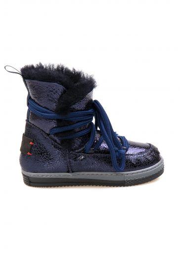 Pegia Sheepskin Kids Boots 186037 Navy blue