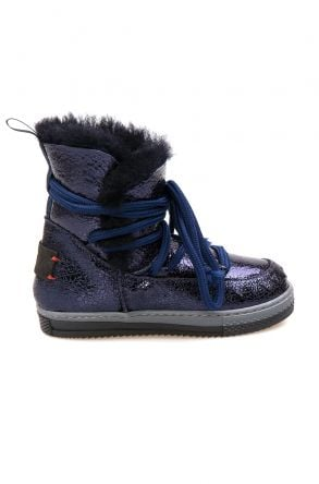 Pegia Sheepskin Kids Boots 186037 Navy blue