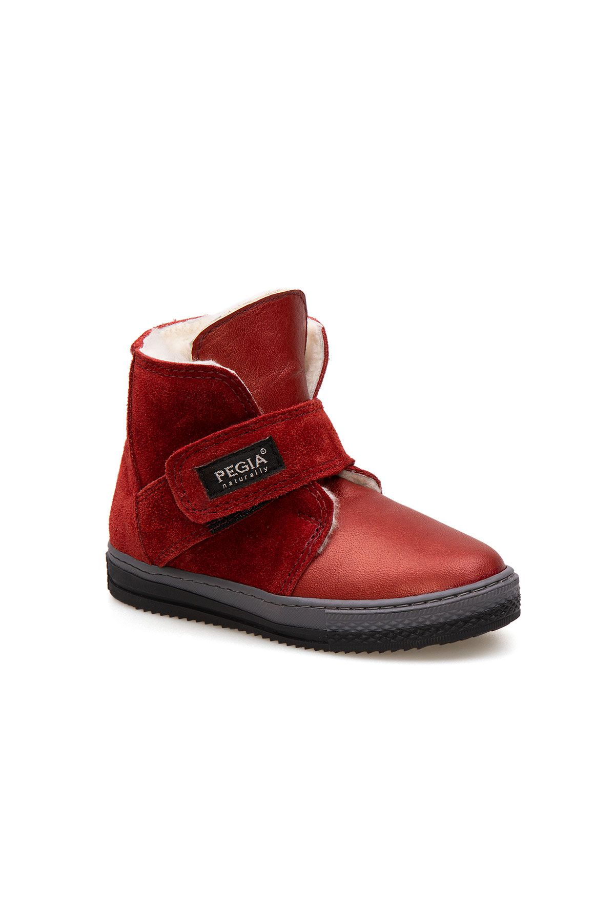Pegia Velcro Sheepskin Children's Boots 186034 Claret red