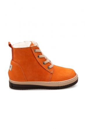 Pegia Kids Zippered Shearling Boots 186033 Orange