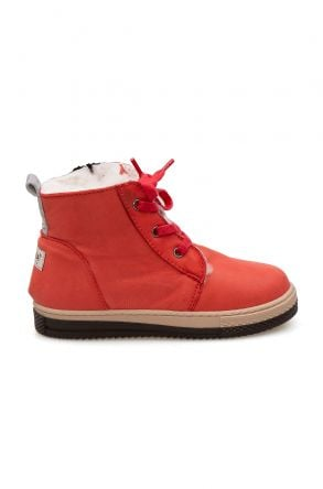 Pegia Kids Zippered Shearling Boots 186033 Pomegranate