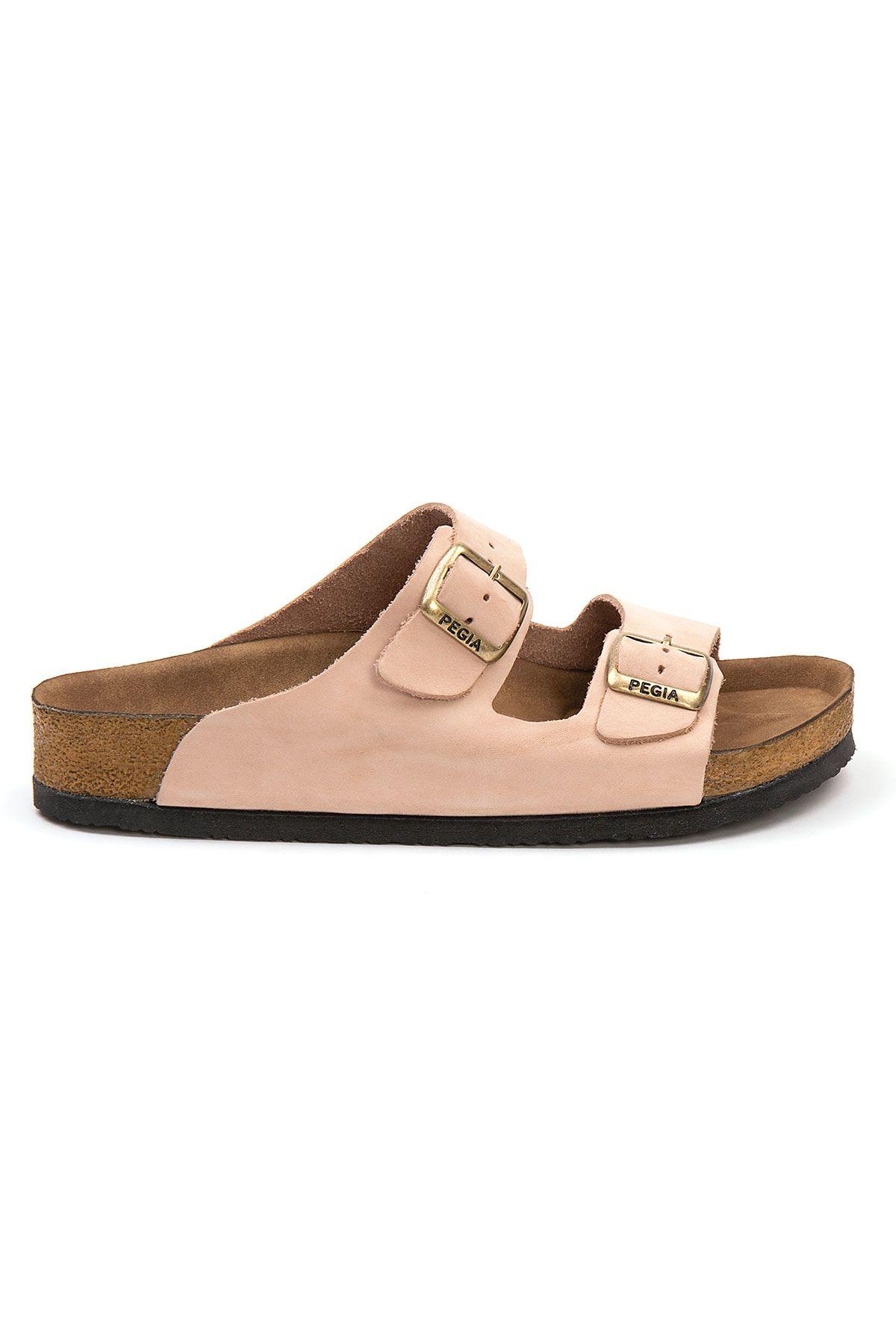 Pegia Women's Leather Strap Slippers 215520 Powdery