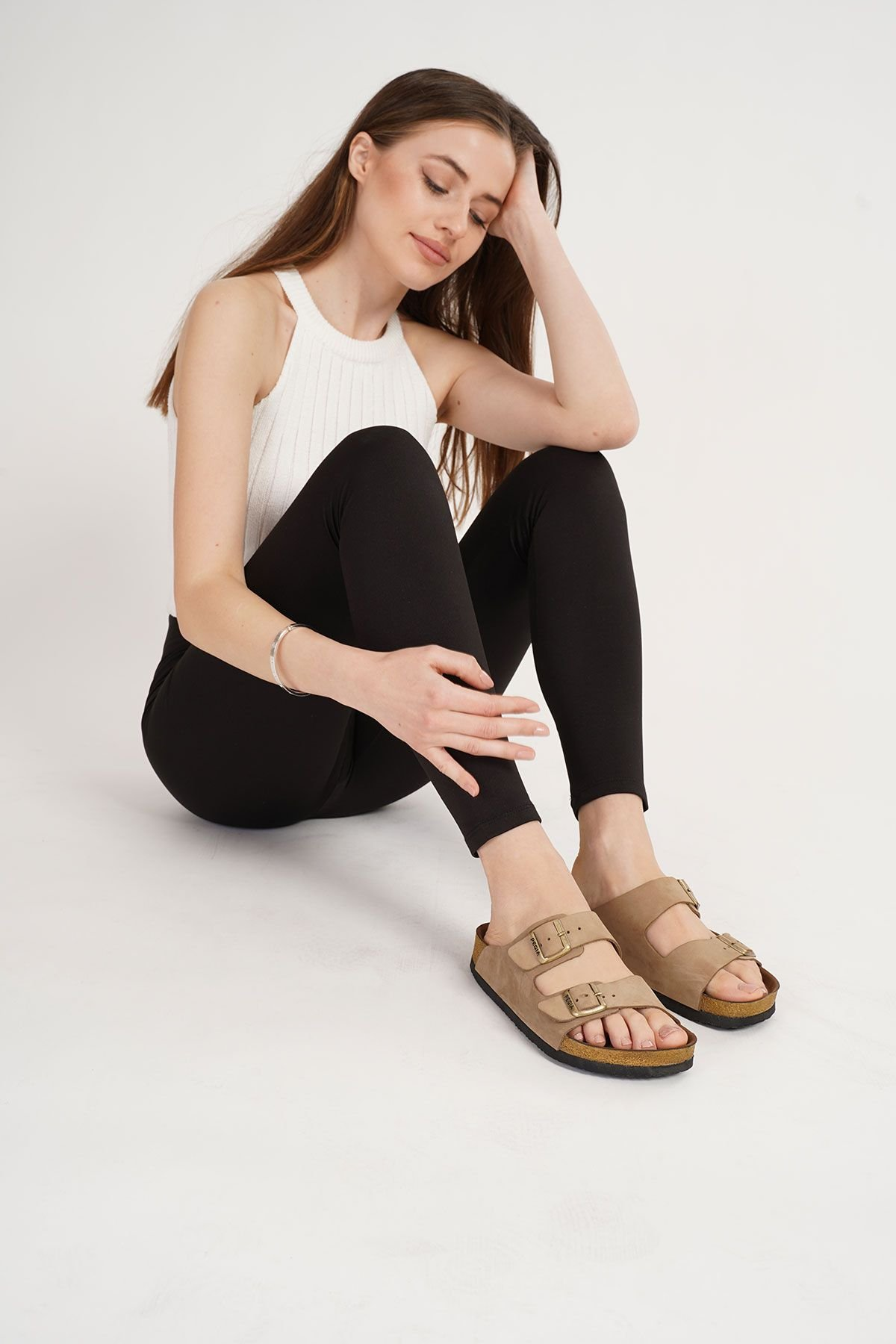 Pegia Women's Leather Strap Slippers 215520 Sand-colored