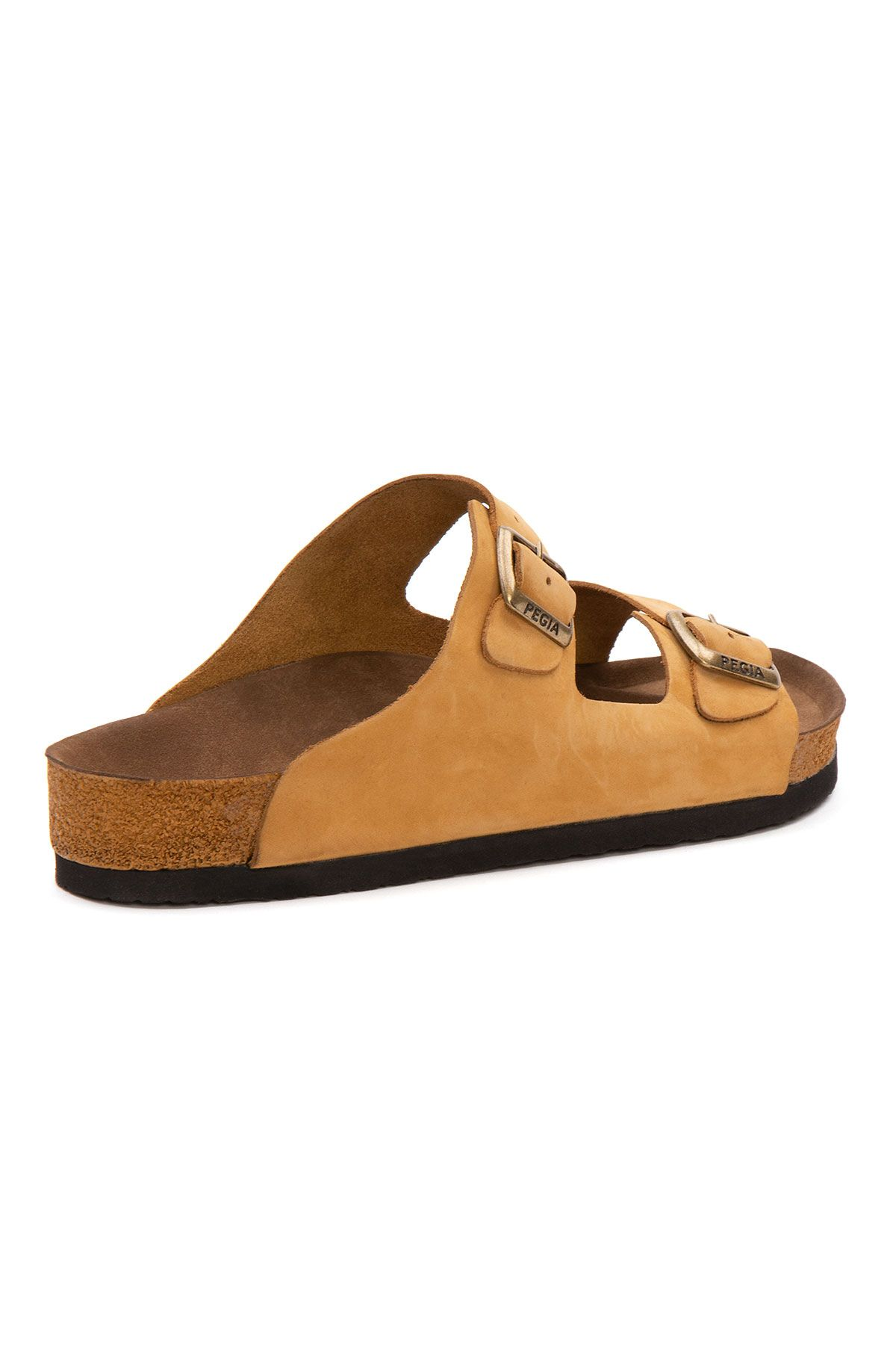 Pegia Women's Leather Strap Slippers 215520 Yellow
