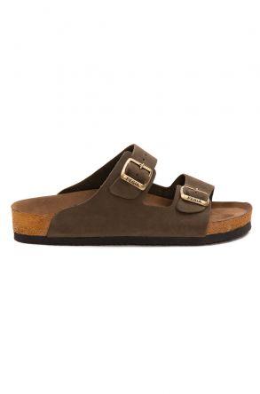 Pegia Women's Leather Strap Slippers 215520 Khaki