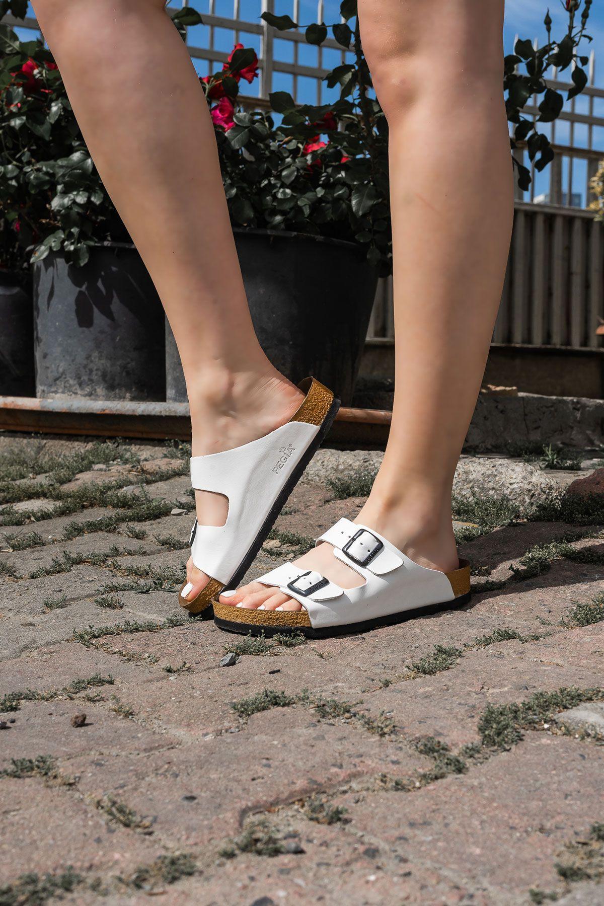 Pegia Women's Leather Strap Slippers 215520 White