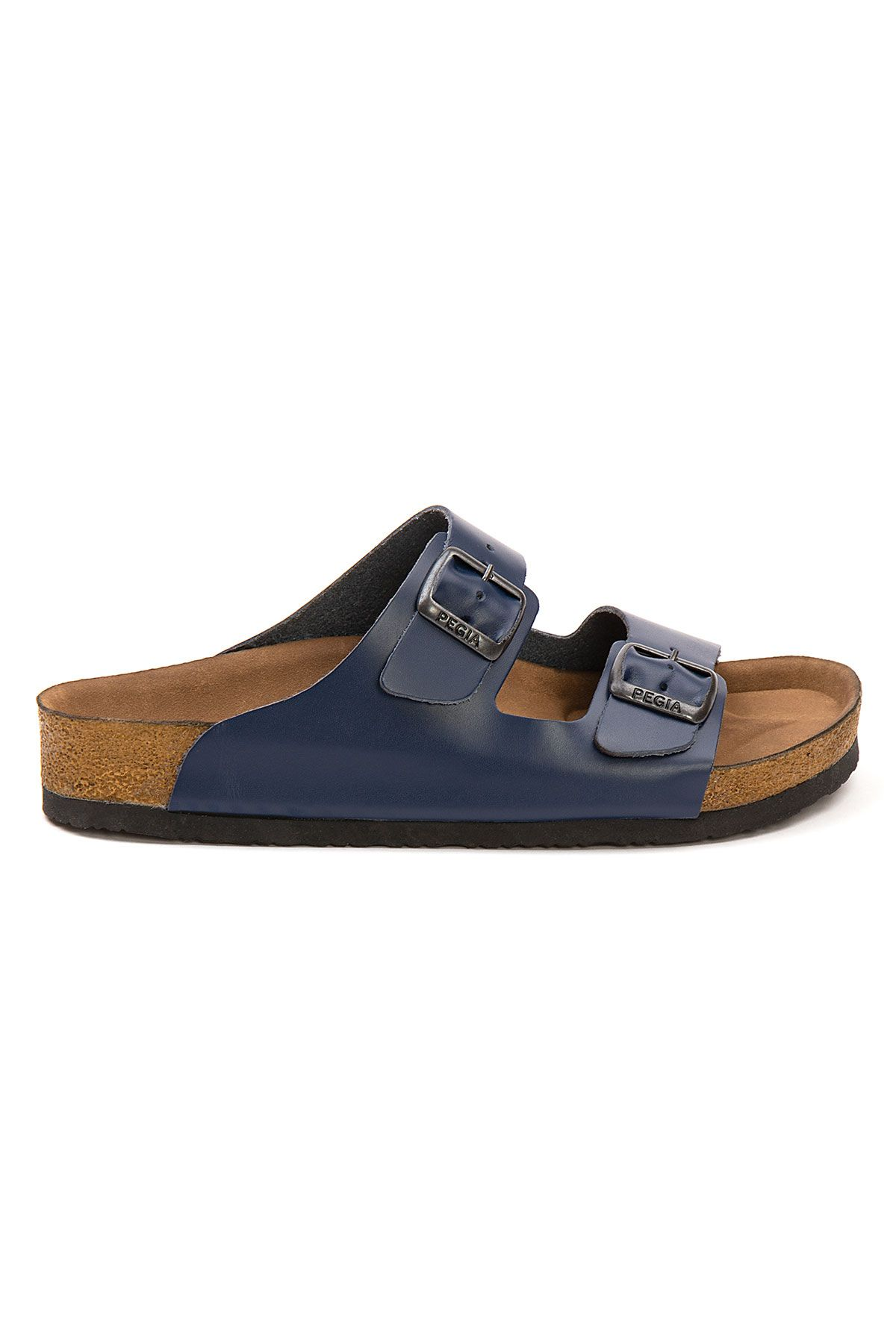 Pegia Women's Leather Strap Slippers 215521 Navy blue