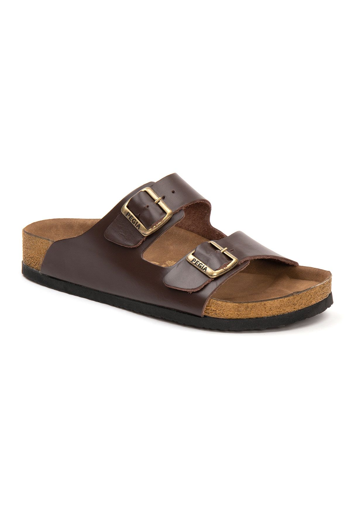 Pegia Women's Leather Strap Slippers 215521 Brown