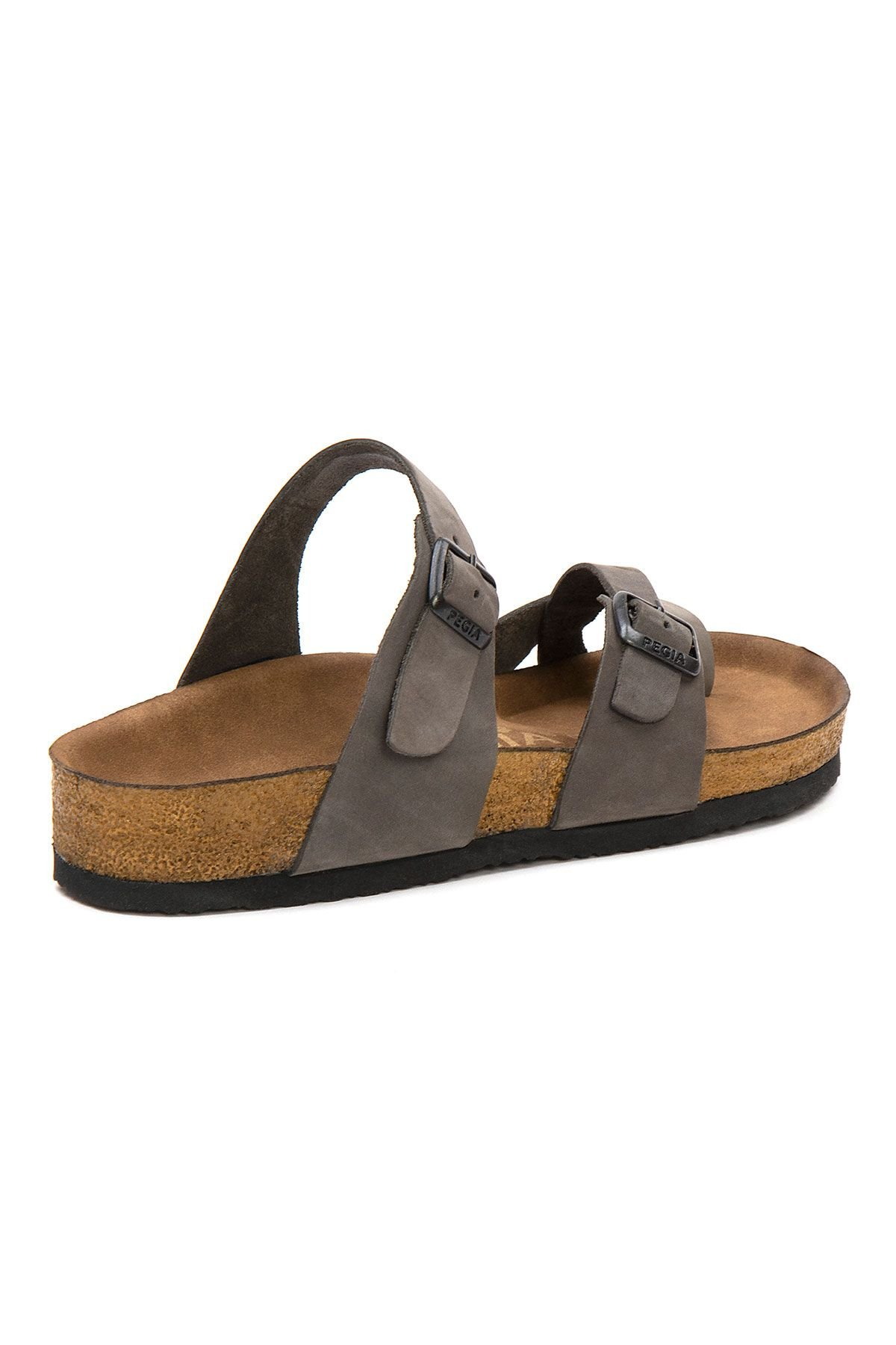 Pegia Women's Leather Slippers 215522 Gray
