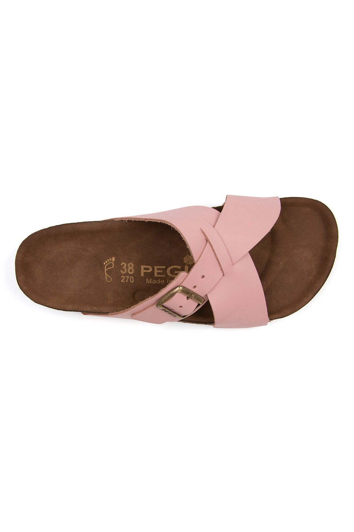 Pegia Women's Leather Strap Slippers 215524 Pink
