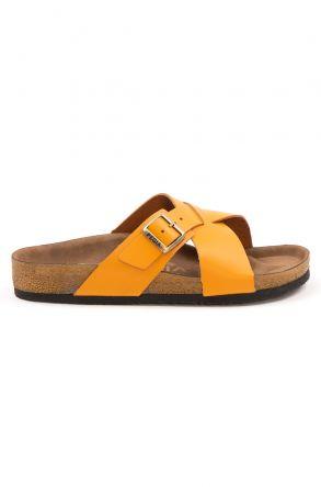 Pegia Women's Leather Strap Slippers 215524 Orange