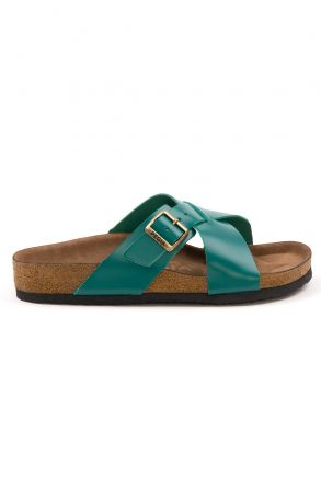 Pegia Women's Leather Strap Slippers 215524 Green