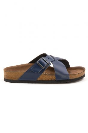 Pegia Women's Leather Strap Slippers 215524 Navy blue