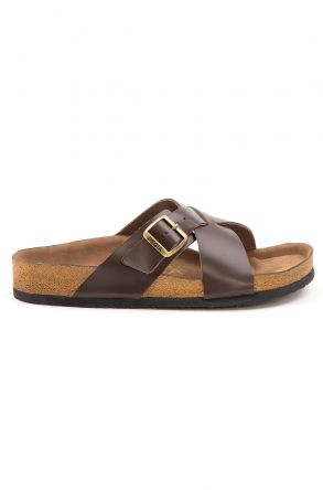 Pegia Women's Leather Strap Slippers 215524 Brown