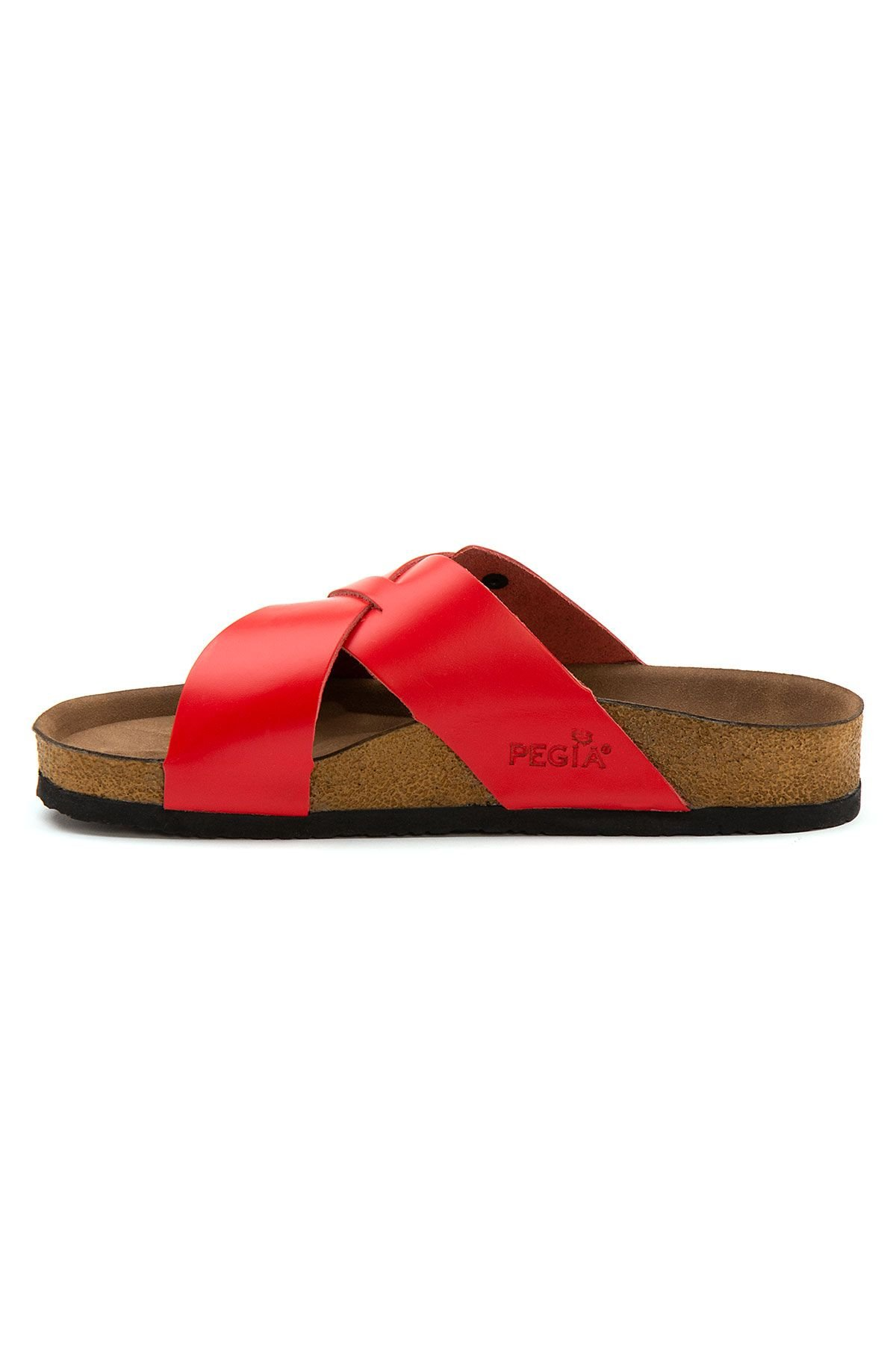 Pegia Women's Leather Strap Slippers 215524 Red