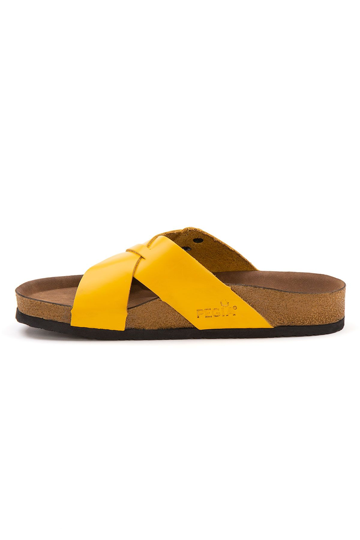 Pegia Women's Leather Strap Slippers 215524 Yellow