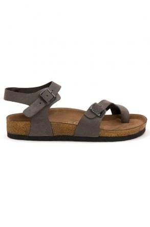 Pegia Women's Leather Sandals 215523 Gray