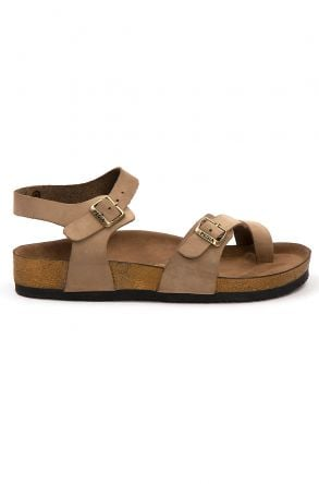 Pegia Women's Leather Sandals 215523 Sand-colored