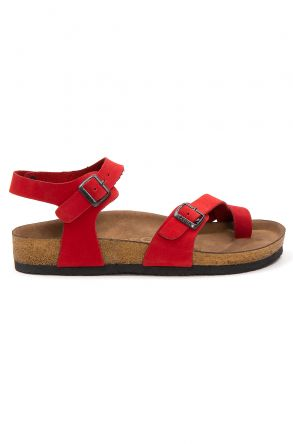 Pegia Women's Leather Sandals 215523 Red