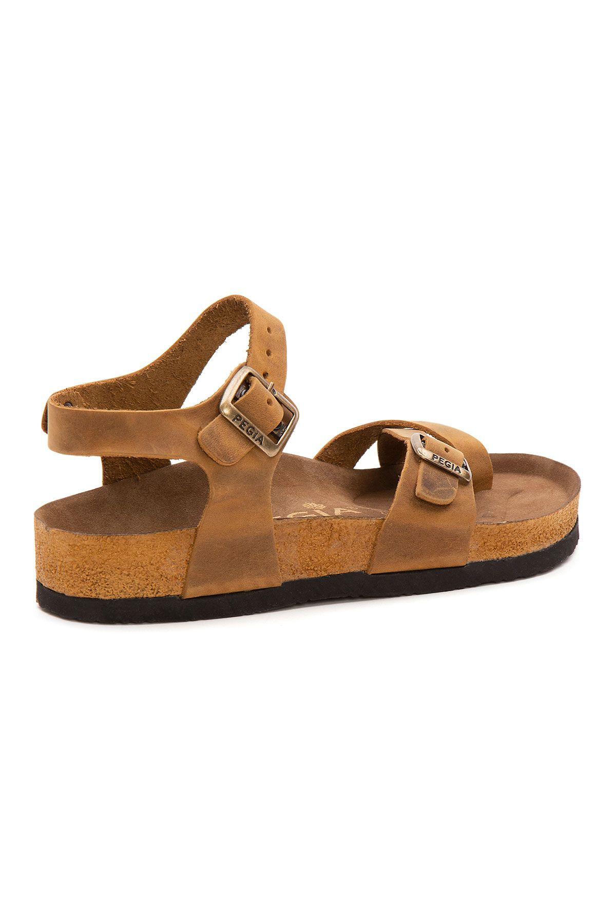 Pegia Women's Leather Sandals 215523 Ginger