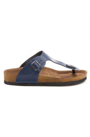 Pegia Women's Leather Flip Flops 215526 Navy blue