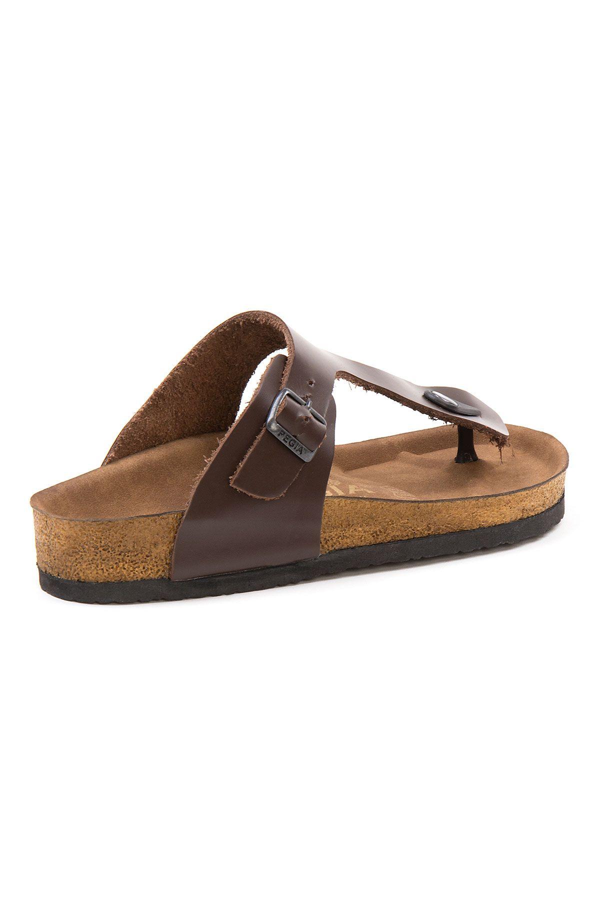 Pegia Women's Leather Flip Flops 215526 Brown