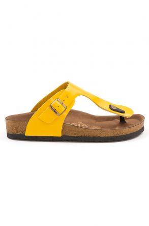 Pegia Women's Leather Flip Flops 215526 Yellow