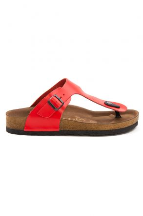 Pegia Women's Leather Flip Flops 215526 Red