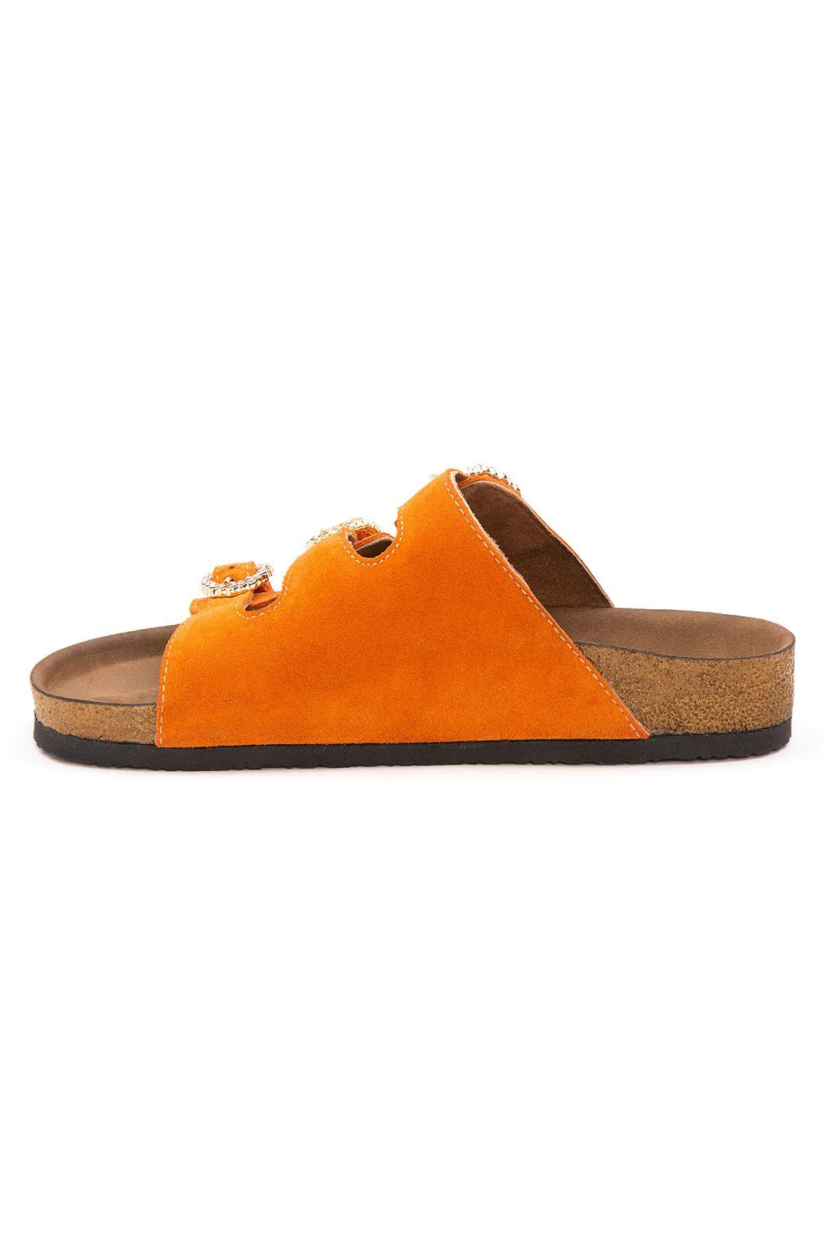 Pegia Women's Stone Buckled Suede Slippers 215528 Orange