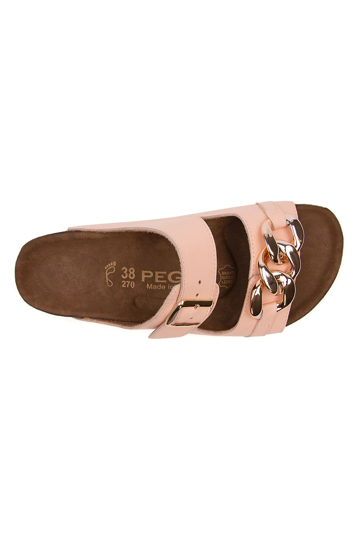 Pegia Women's Chain Detailed Leather Slippers 215532 Powdery