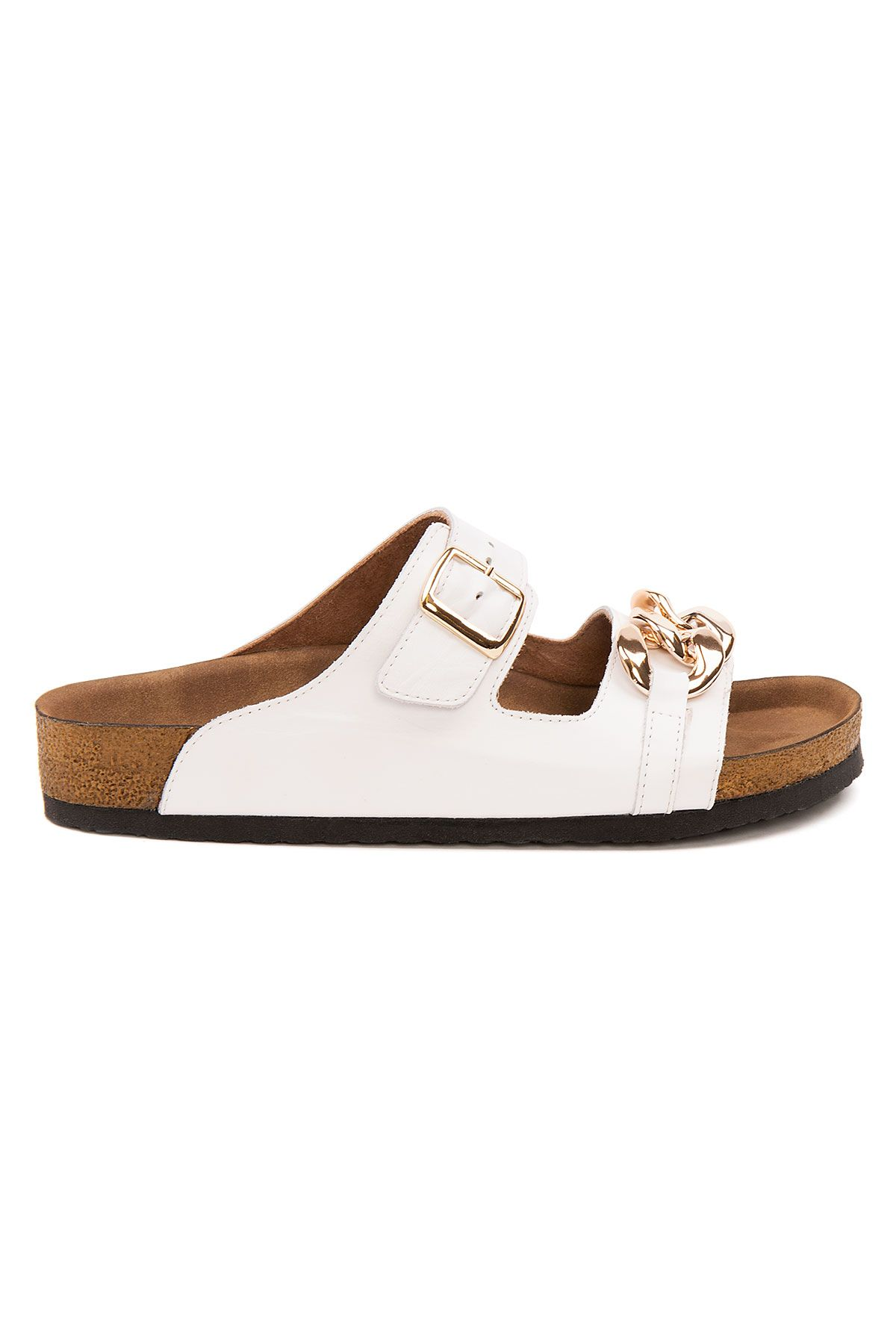 Pegia Women's Chain Detailed Leather Slippers 215532 White