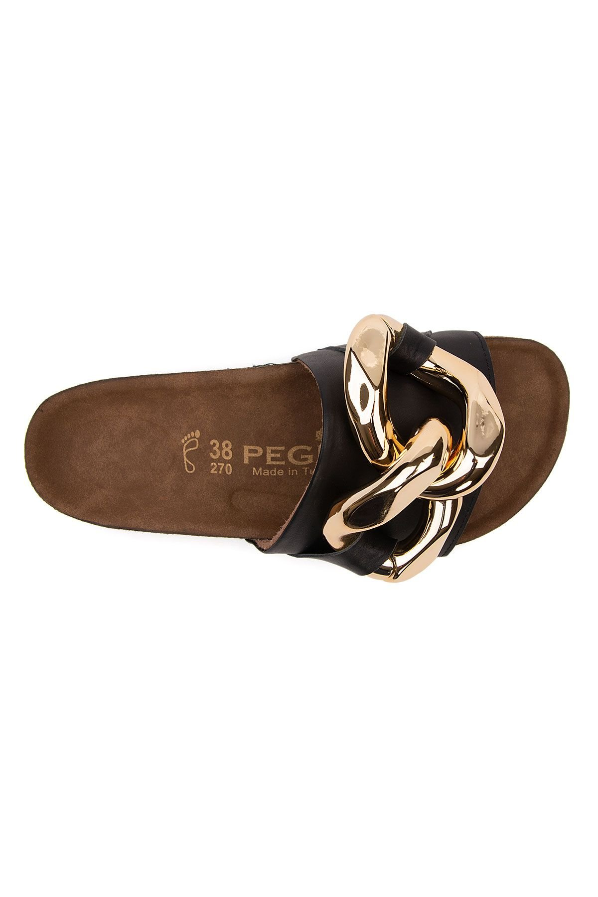 Pegia Women's Chain Detailed Leather Slippers 215536 Black